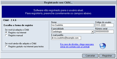 Registro via internet