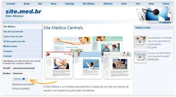 Login no Site Médico