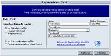 Registro via internet