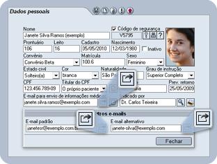 Emails cadastrados na Ficha do Paciente
