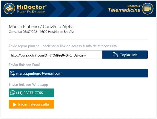 Encaminhar link para paciente